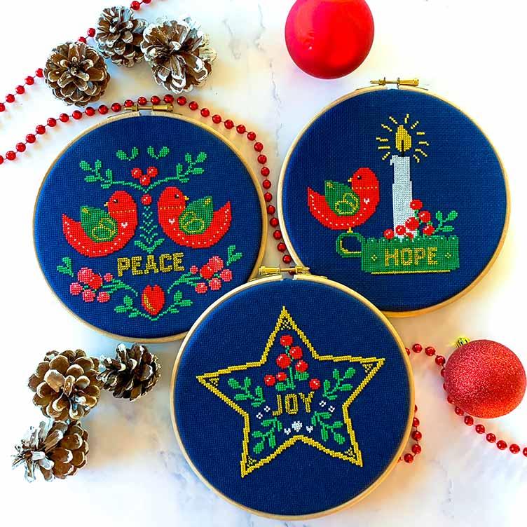Set of 3 christmas cross stitch kits