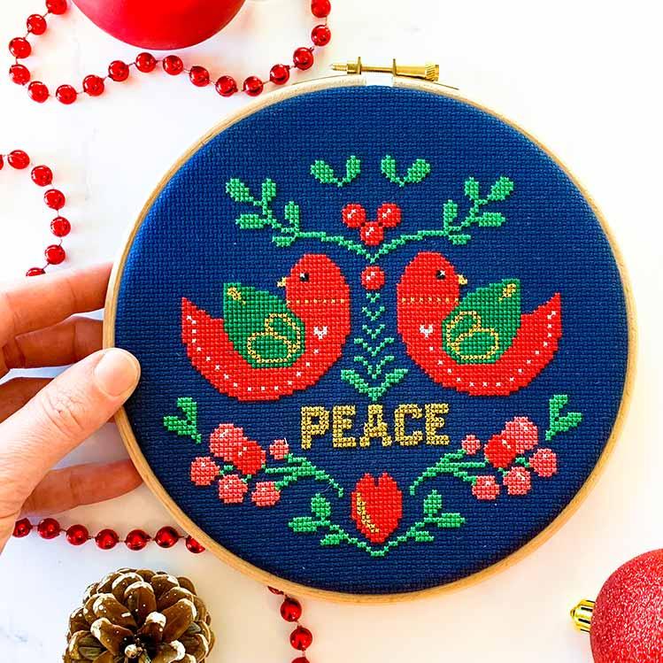 Peace christmas cross stitch kit