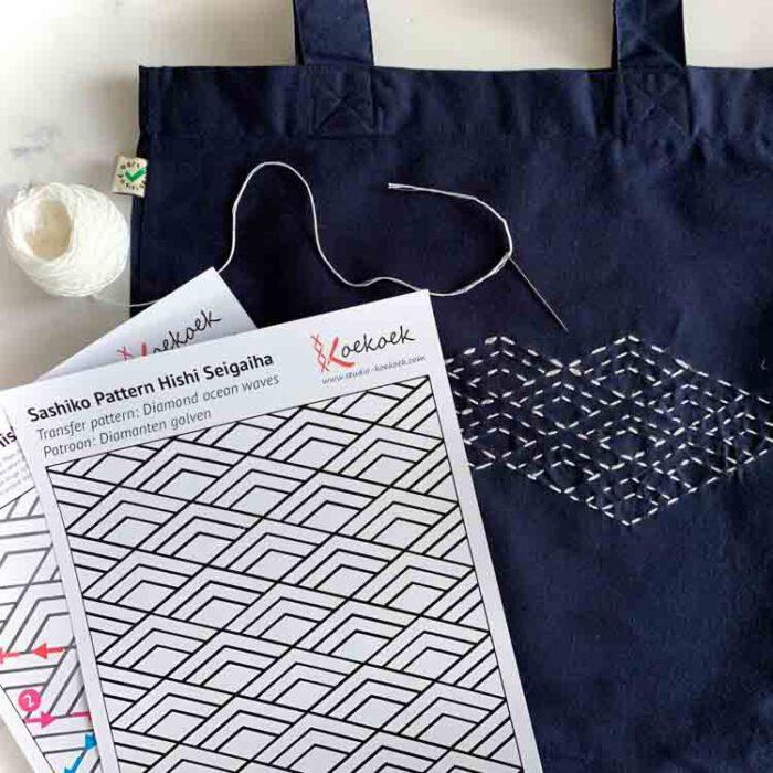 Sashiko tote bag kit for beginners