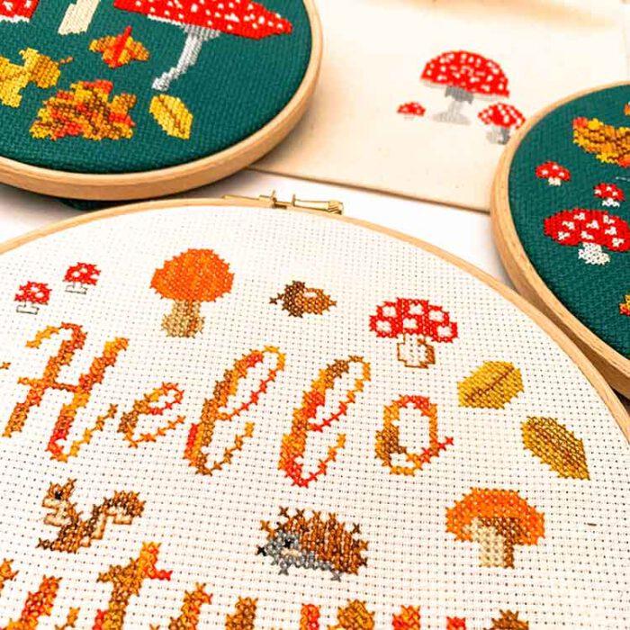 Hello autumn cross stitch kit detail