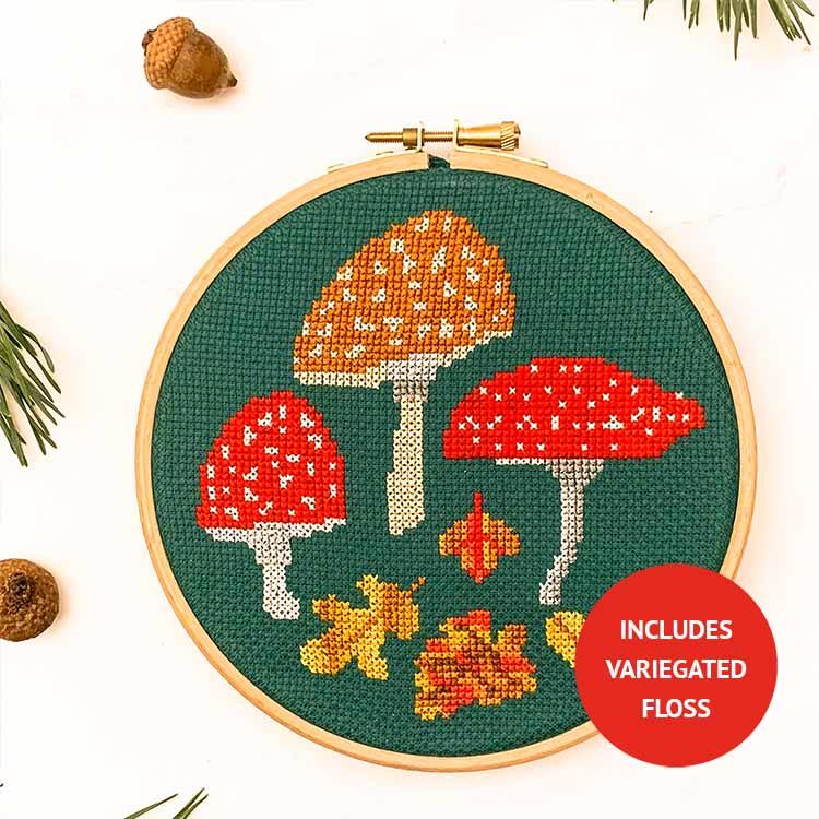 Autumn mushrooms cross stitch kit with variegated floss