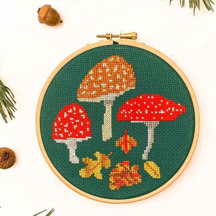 Autumn mushroom kit with special floss