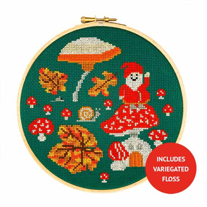 gnome mushroom cross stitch kit with variegated floss
