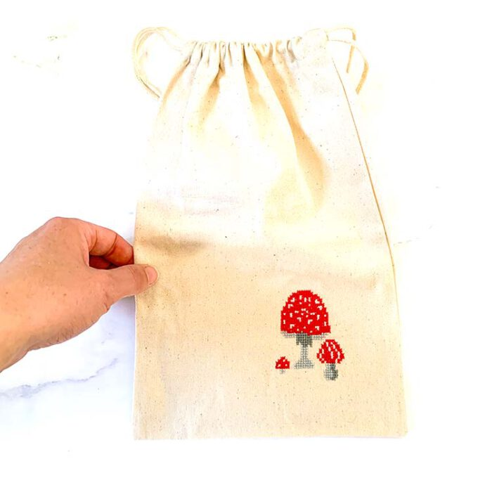 project bag cross stitch kit with mushrooms