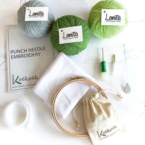 punch needle kit clover punch needle green silver
