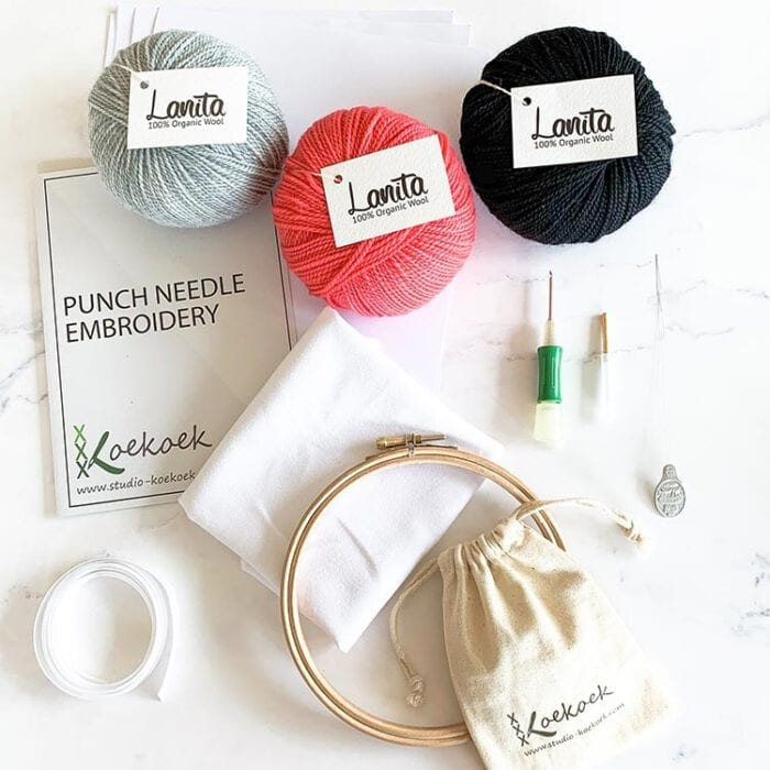 punch needle kit clover punch needle silver pink