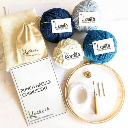 Blues eco punch needle kit with 3 size punch needle