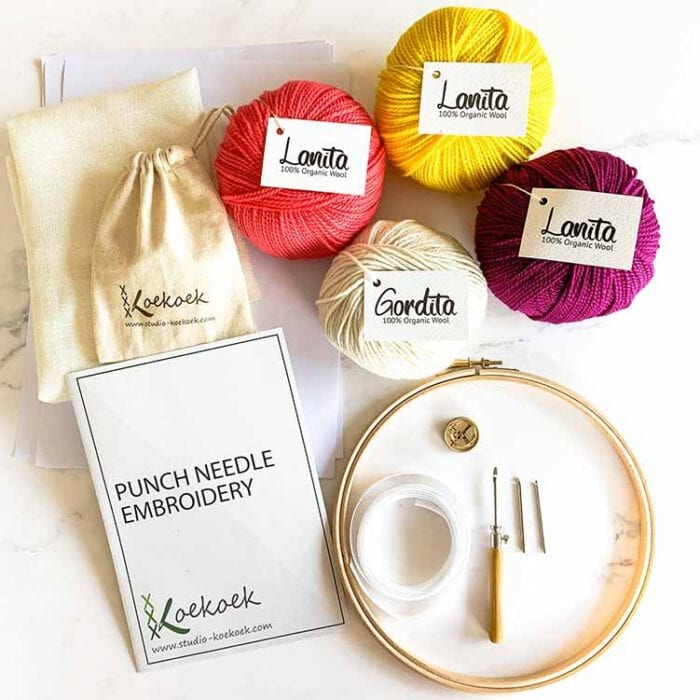 color lover punch needle kit with 3 size punch needle rug hooking supplies set