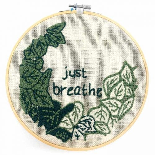 14920 botanical punch needle kit quote just breathe