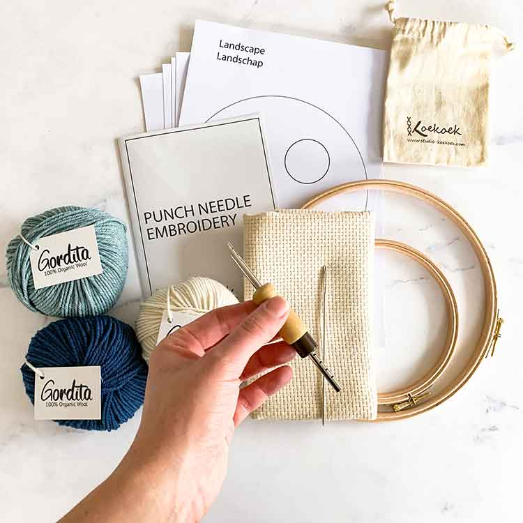 ecological punch needle kit for starters with instructions