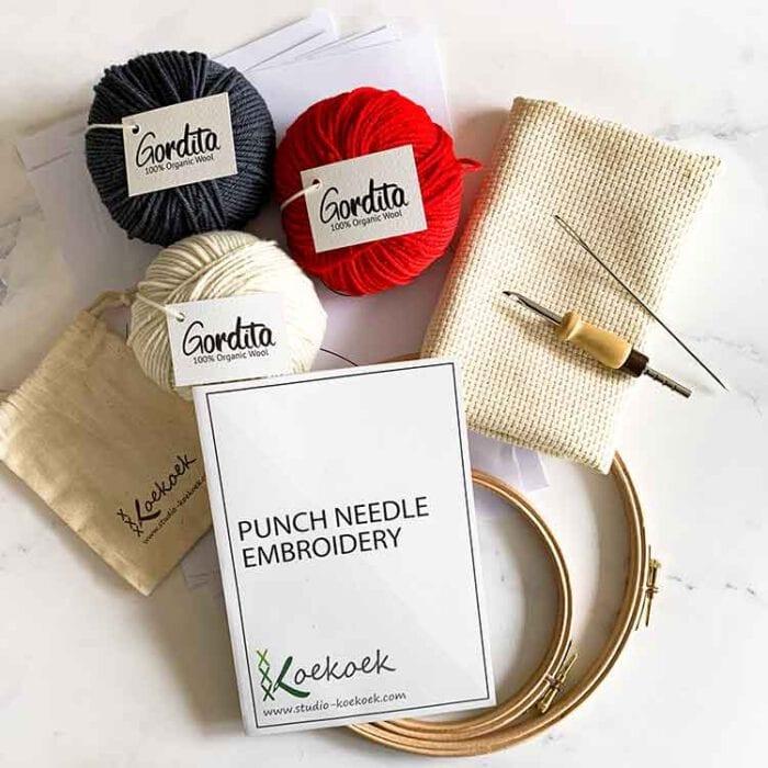 adjustable punch needle kit for beginners red antracite wool Studio Koekoek