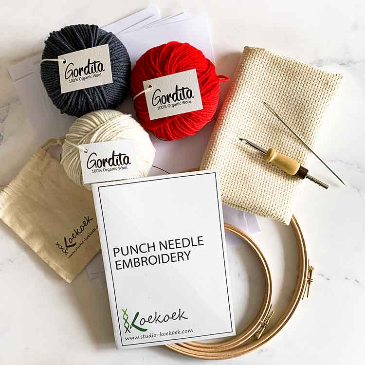 adjustable punch needle kit for beginners red antracite wool Studio Koekoek
