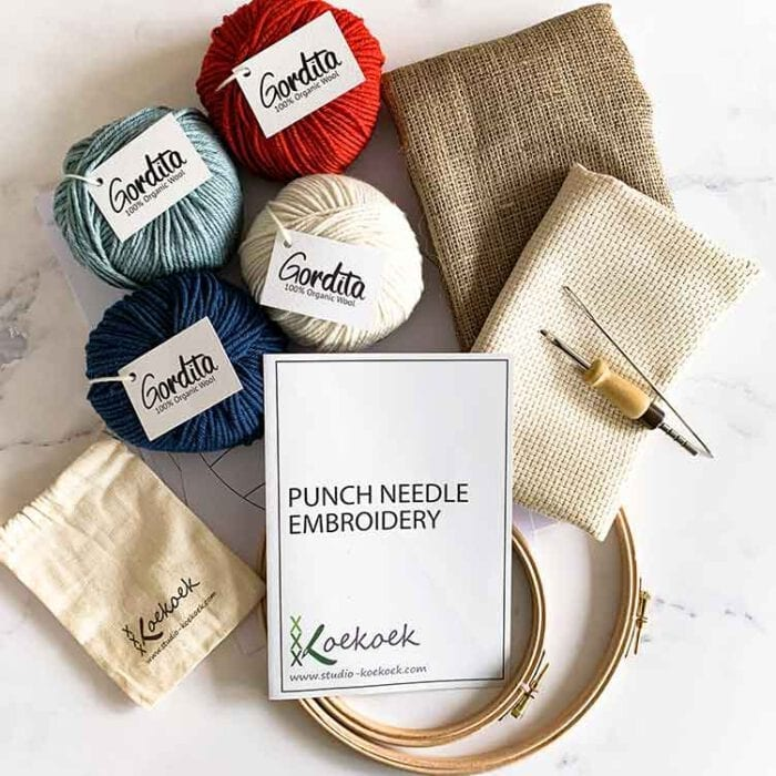 large eco punch needle kit for beginners blue and red