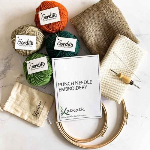 large eco punch needle kit for beginners green and orange ecological wool