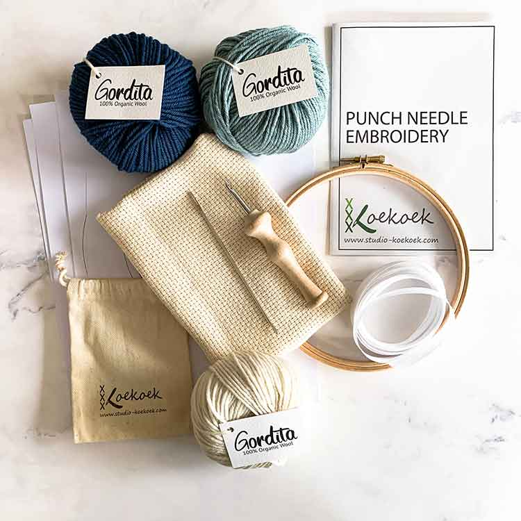 punch needle supplies kit with luxury punch needle blue ecological wool