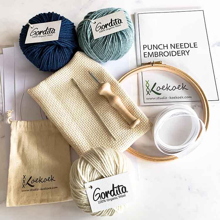 punch needle kit with luxury punch needle blue ecological wool