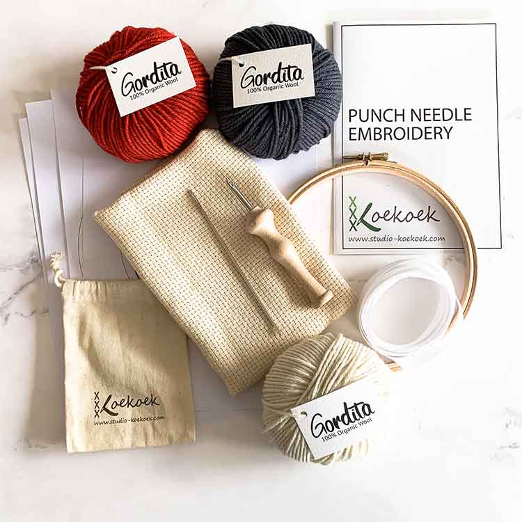 punch needle kit with luxury punch needle instructions and red antracite ecological wool