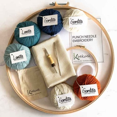 xl punch needle kit with adjustable punch needle and ecological wool