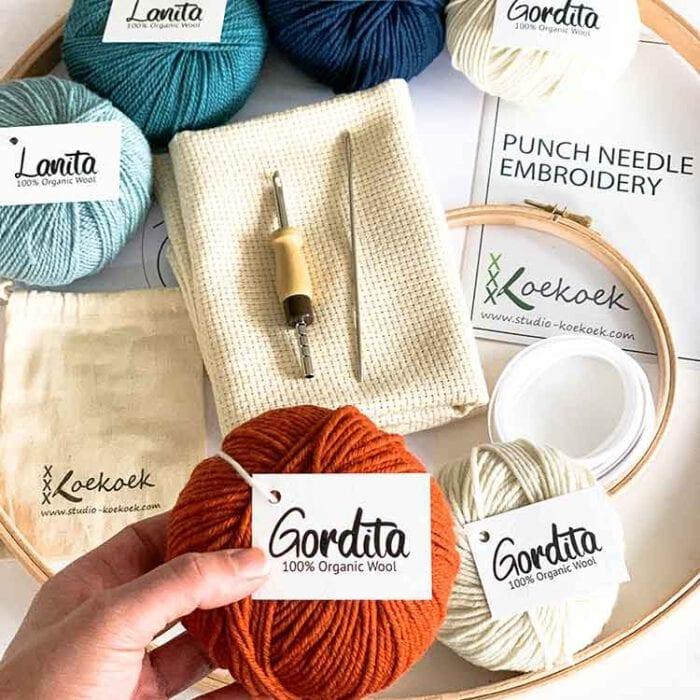 xl premium punch needle kit with adjustable punch needle and ecological wool learn to punch