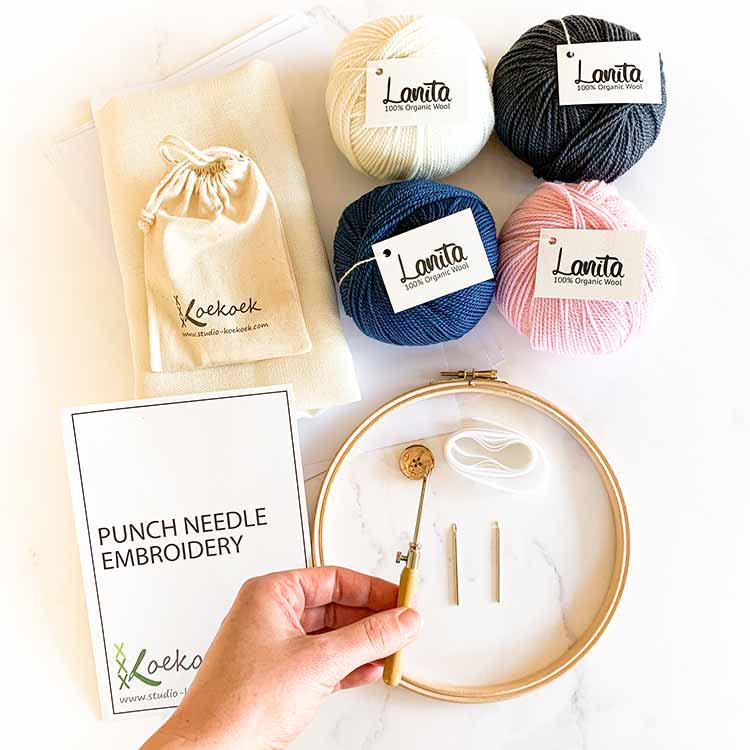 pink blue 3 size punch needle kit starter
