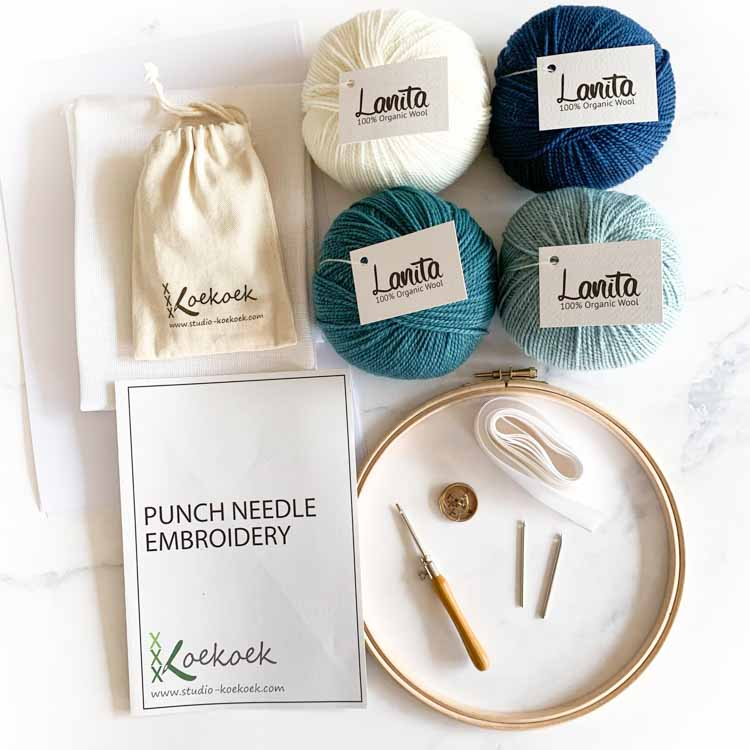 eco punch needle kit for starters ocean blue