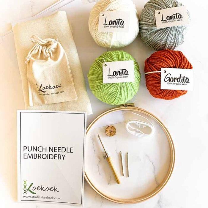 fresh green 3 size punch needle kit starter