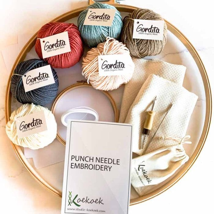 xl punch needle kit with ecological wool