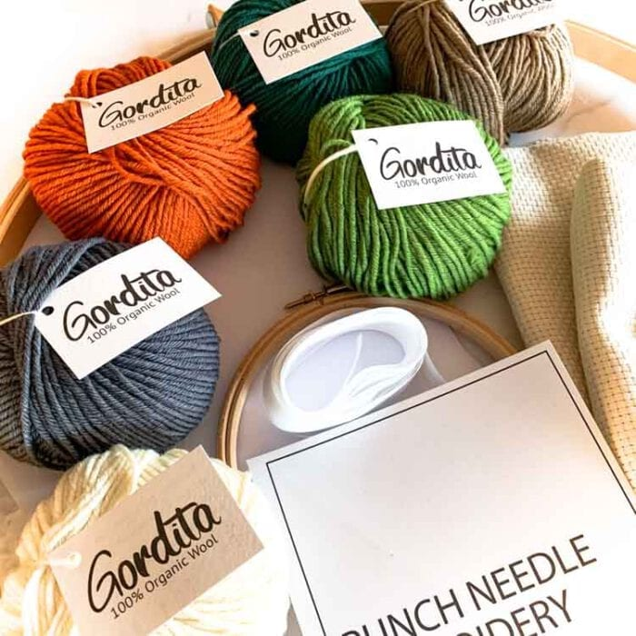 xl adjustable punch needle kit nature colors