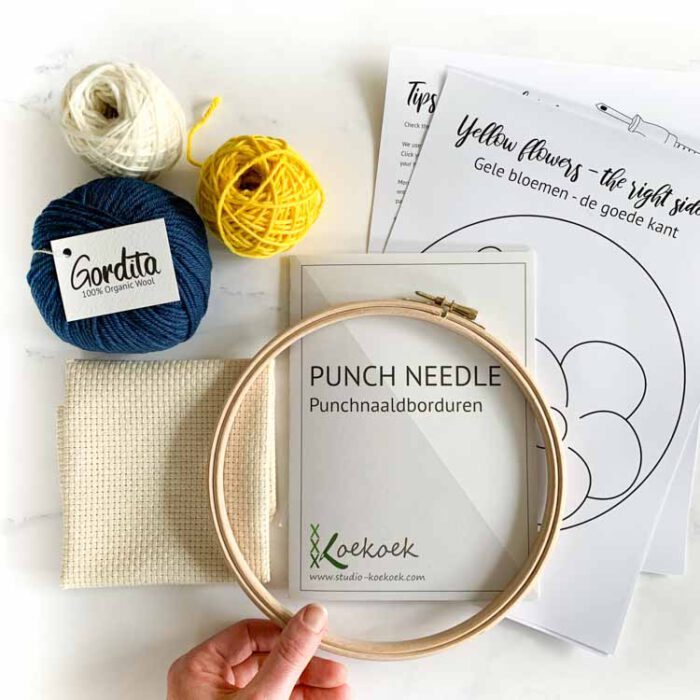 Refill punch needle kit yellow flowers