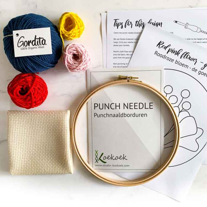 refill punch needle kit red flower