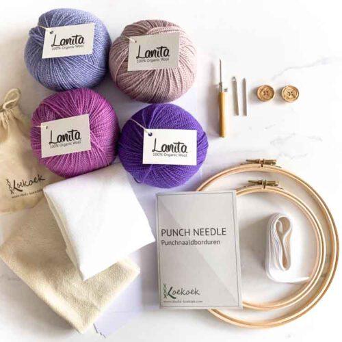 Large ecological punch needle kit 3 size punch needle kit purple shades
