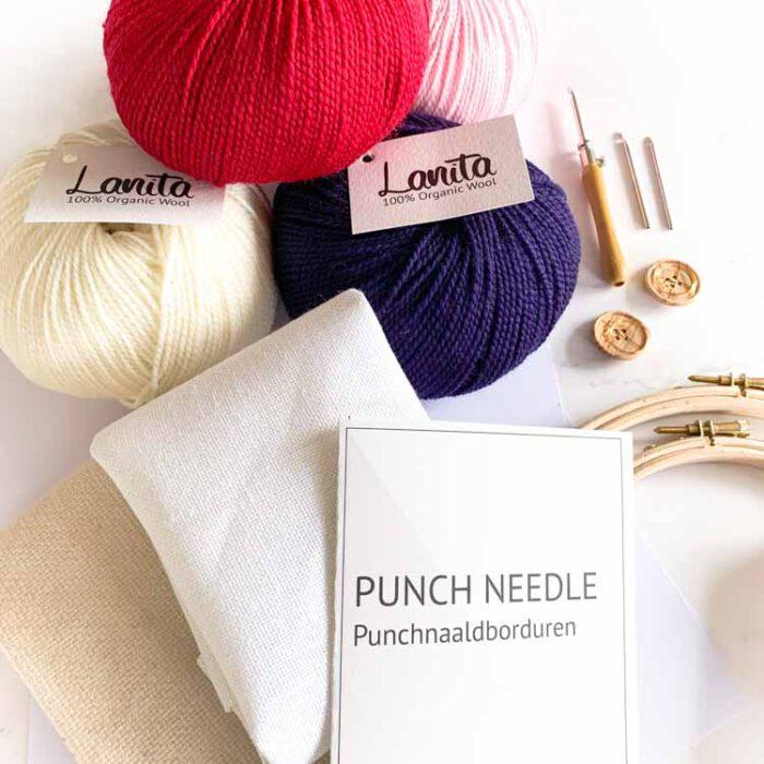 Large ecological punch needle kit 3 size punch needle cherry berry