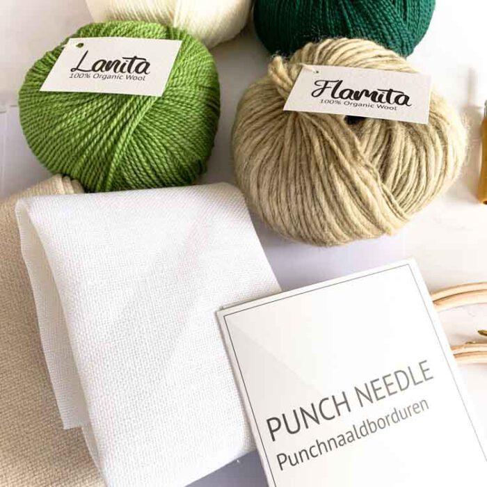Large ecological punch needle kit 3 size punch needle greens