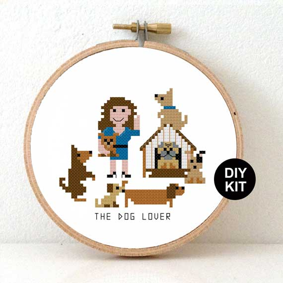 Female dog owner cross stitch gift