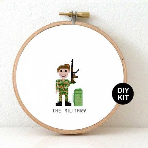DIY Gift for female Soldier cross stitch kit