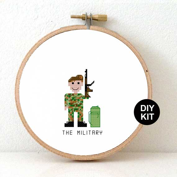Military Cross Stitch Kit male soldier