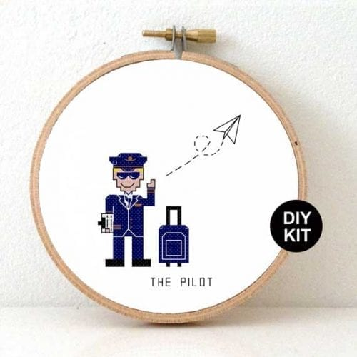 Gift for Pilot Cross Stitch Kit