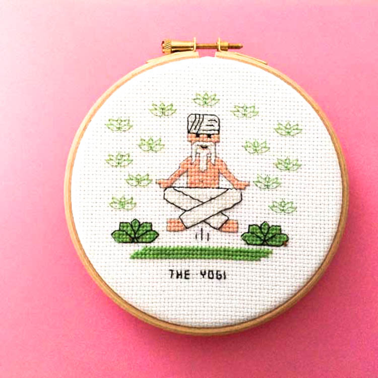 DIY gifts Yogi cross stitch pattern