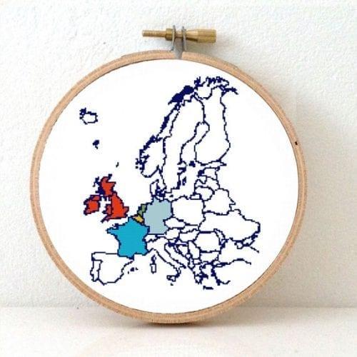 XL Europe map cross stitch pattern