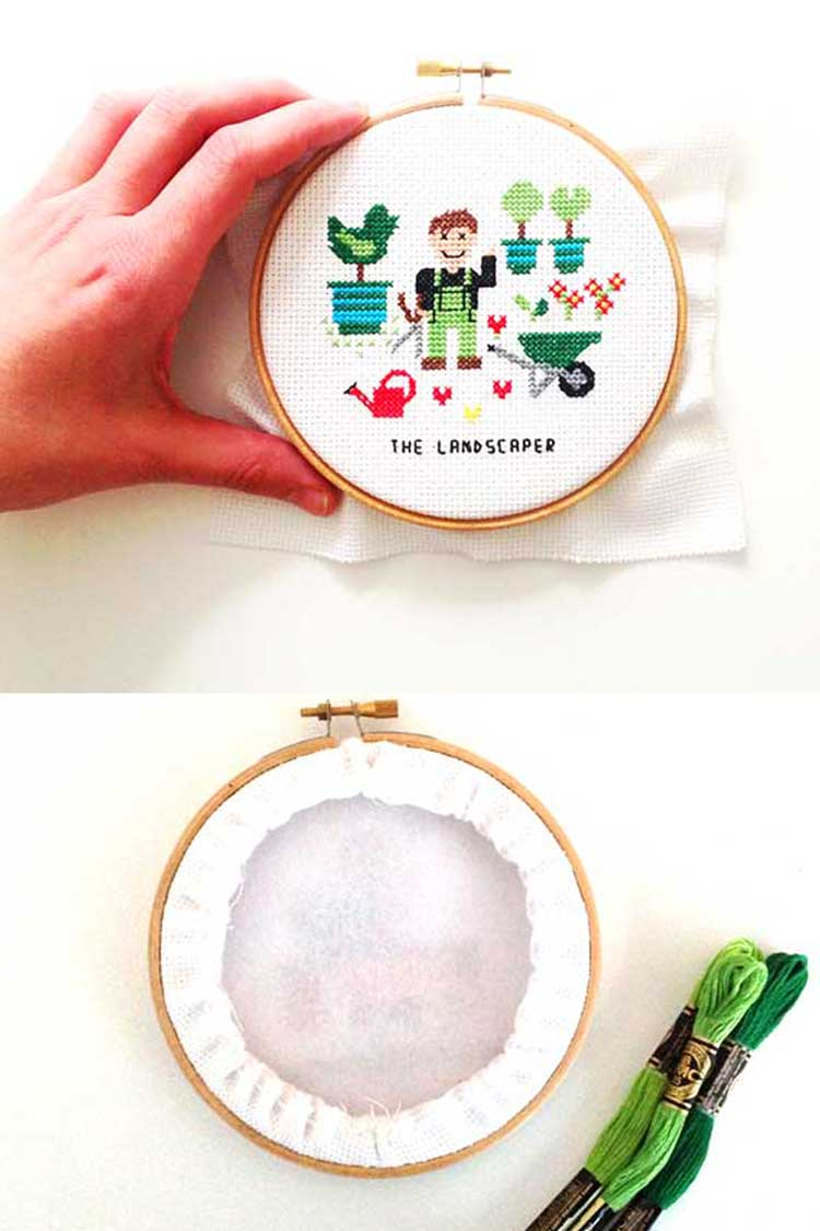 Framing cross stitch project in an embroidery hoop