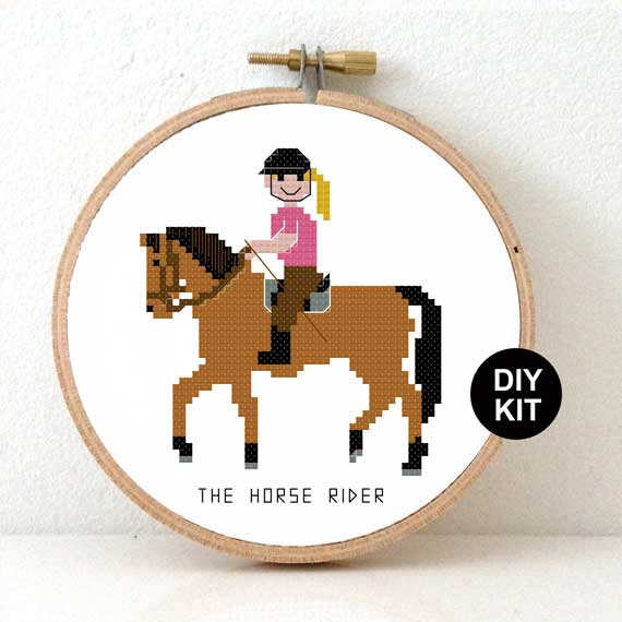 Cross Stitch Kit Horse Rider