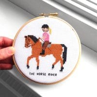 horse rider cross stitch pattern
