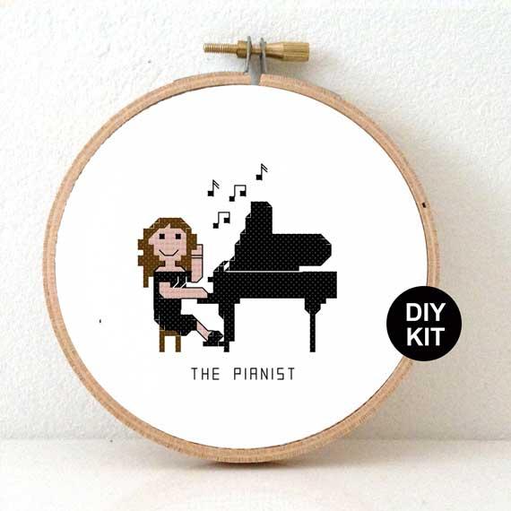 female pianist cross stitch kit