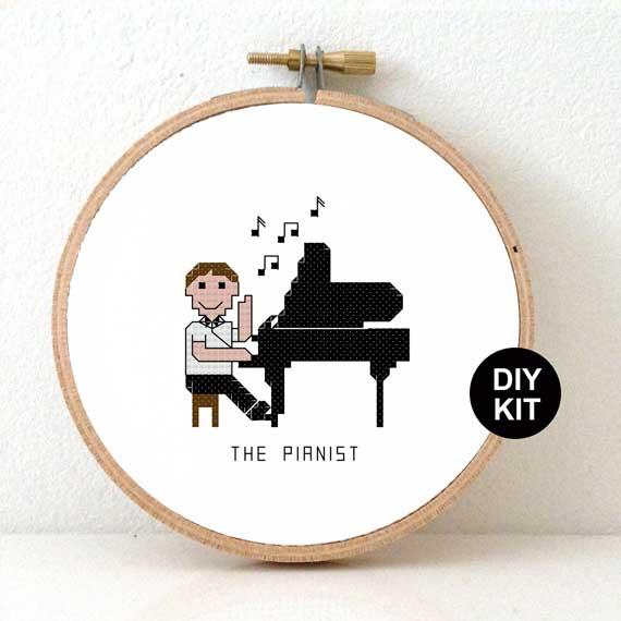 male pianist cross stitch kit