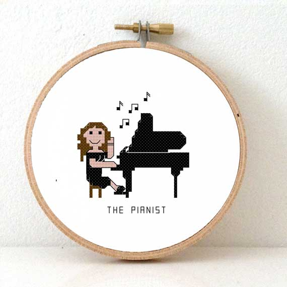 gift for female pianist cross stitch pattern
