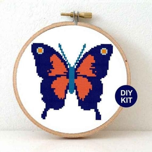Red Blue Butterfly Cross Stitch Kit