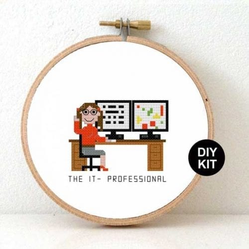 Female IT professional cross stitch kit