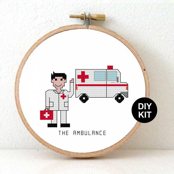 Male Ambulance DIY Gift Cross Stitch Kit