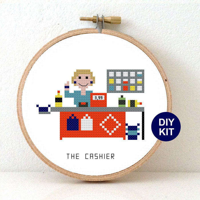 Cashier Cross stitch kit gif idea retail employee of the month