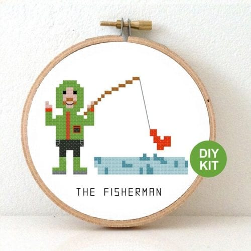 DIY gift Fisherman cross stitch kit